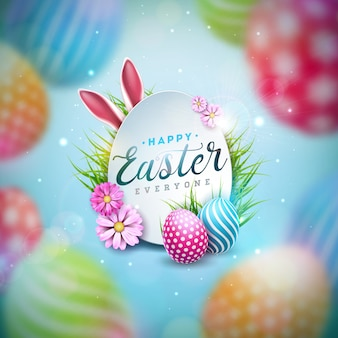 Happy easter illustration with colorful painted egg and spring flower o