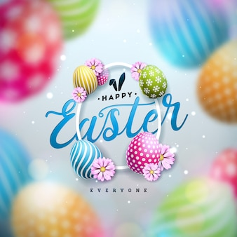 Happy easter illustration with colorful painted egg and spring flower