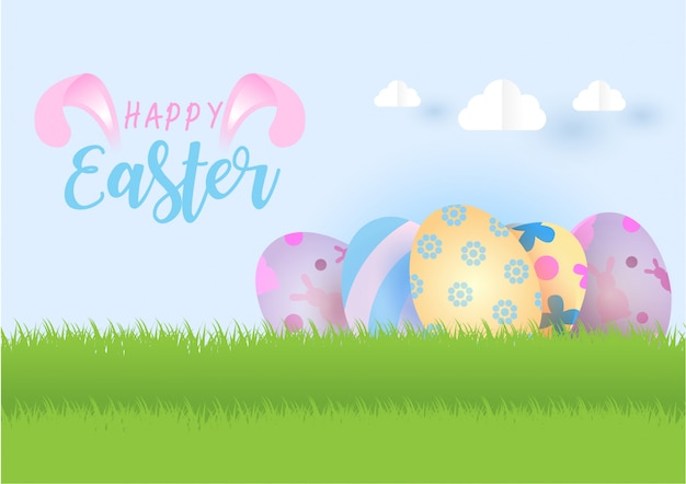 Happy easter illustration with decorated eggs on grassland and light blue sky with clouds