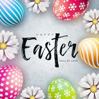 계란과 꽃과 함께 행복 한 부활절 그림