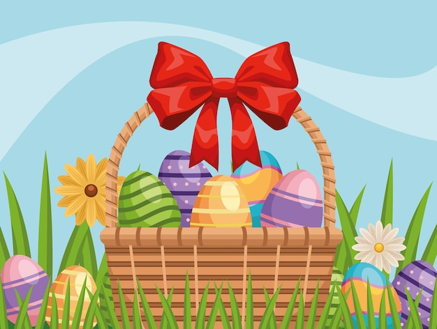 Happy easter illustration with eggs painted in basket and flowers garden
