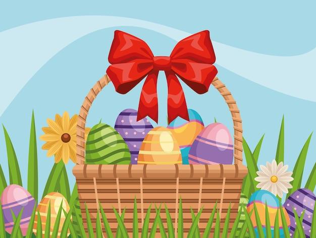 バスケットと花の庭に描かれた卵と幸せなイースターのイラスト