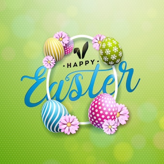 Happy easter illustration with flower and egg