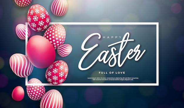 그려진 계란 행복 한 부활절 그림