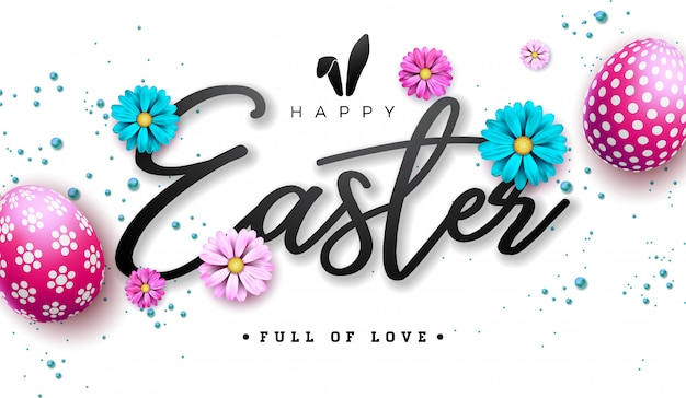 Happy easter illustration with red painted egg and flower