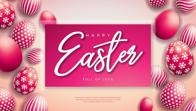 Happy easter illustration with red painted egg