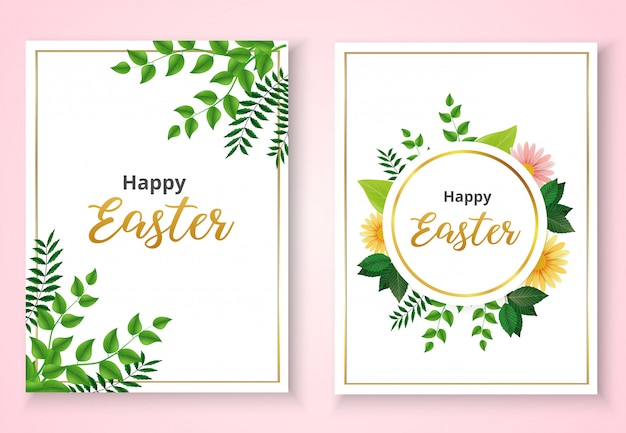 Happy easter invitation card template