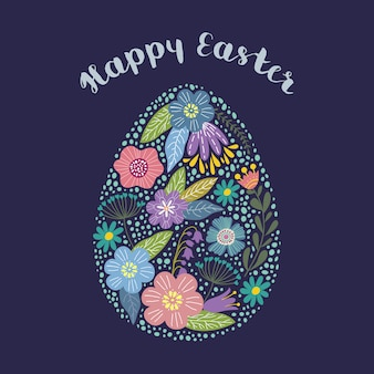 Happy easter. isolated cartoon cute egg with floral design with text. vector