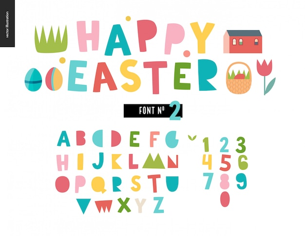 Happy easter kids alphabet