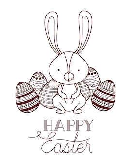 Happy easter label with egg isolated icon