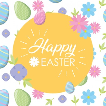 Happy easter label with flowers and eggs greeting card