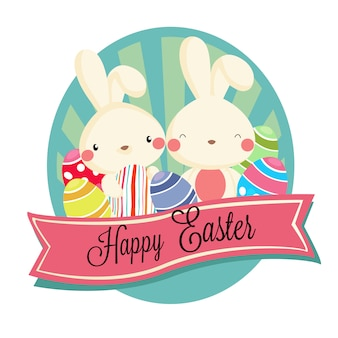 Happy easter label with rabbit eggs
