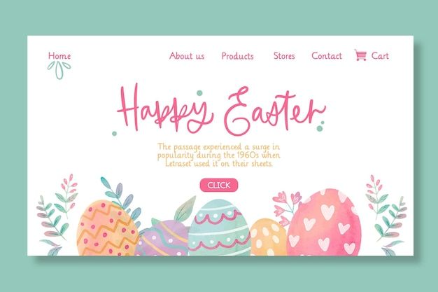Happy easter landing page template