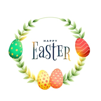 Happy easter leaves and eggs frame card design