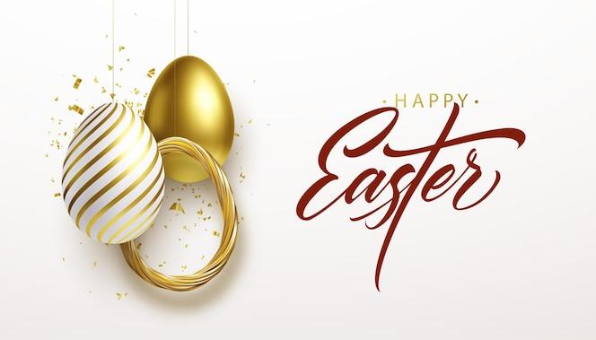 Felice pasqua lettering sfondo con 3d realistici glitter dorati uova decorate, coriandoli illustrazione di vettore eps10