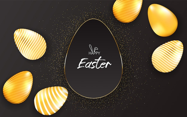 Happy easter lettering background with realistic golden shine decorated eggs, golden particle.