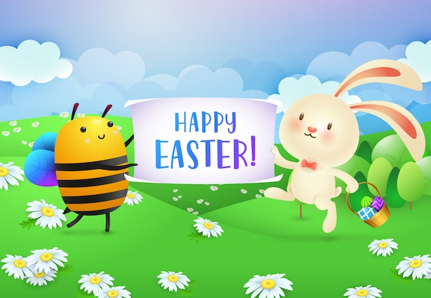 Happy easter lettering on banner held by bee and rabbit