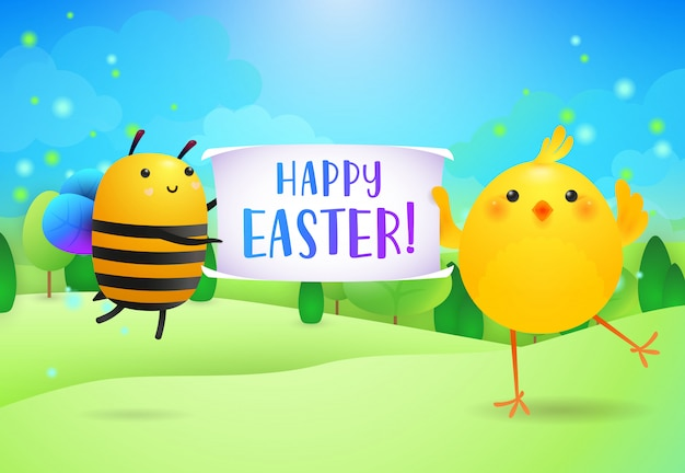 Happy easter lettering on banner held by cute bee and chick