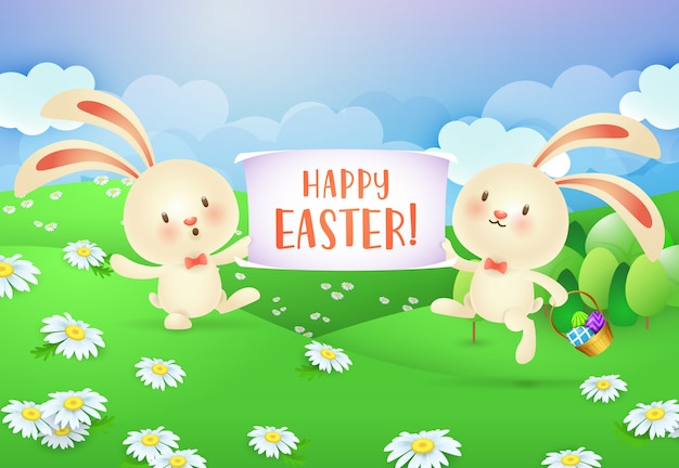 Happy easter lettering on banner held by two cheerful bunnies