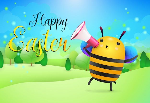 Happy easter lettering and bee with loudspeaker