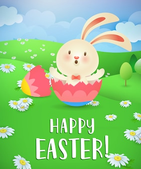 Happy easter lettering, bunny hatching from egg and landscape