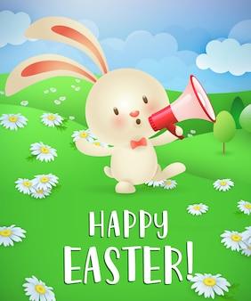Счастливой пасхи надписи, кролик с мегафоном и пейзаж