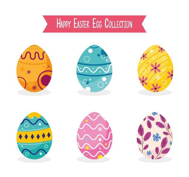 Happy easter lettering card with eggs painted  illustration Premium Vector