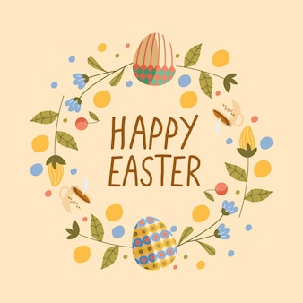Happy easter lettering card with eggs painted in wreath flowers illustration design