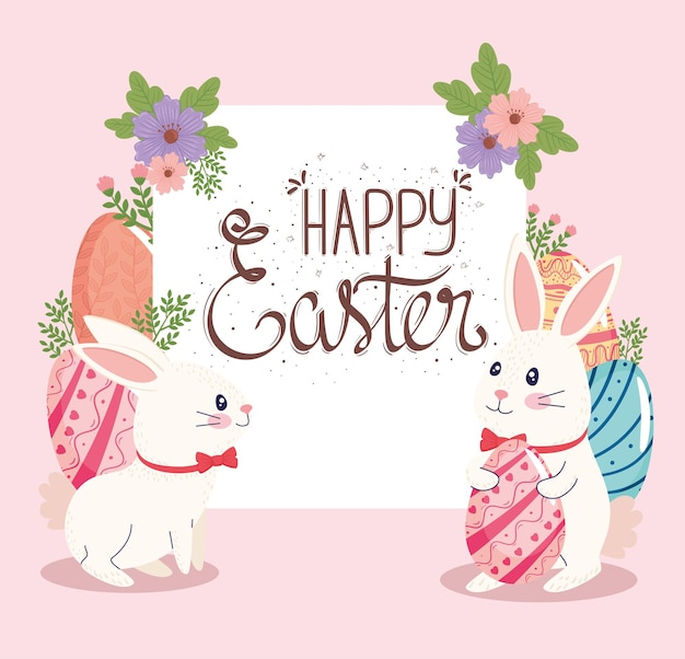 Happy easter lettering card with  illustration