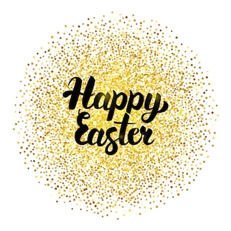 Happy easter lettering over gold. vector illustration of calligraphy with golden sparkle decoration.