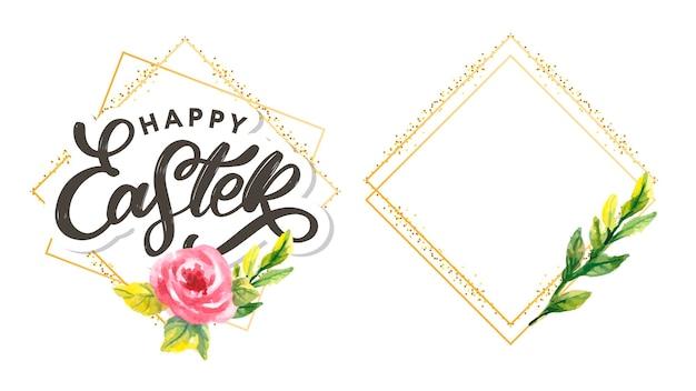 Happy easter lettering in golden frame set
