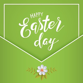 Happy easter lettering on a green background
