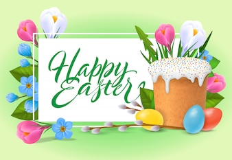Happy Easter lettering. Holiday inscription with sweet bread, buds, colorful eggs.