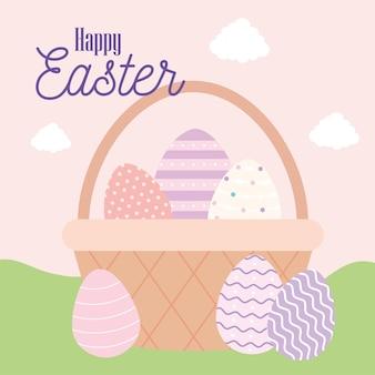 Happy easter lettering and one basket full of easter eggs vector illustration design