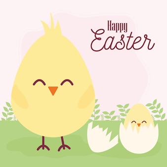 Happy easter lettering and one cracked egg with one chick inside of it vector illustration design