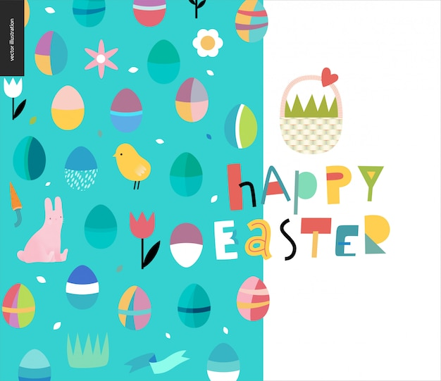 Happy easter lettering and pattern