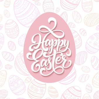 Happy easter lettering on pink seamless pattern eggs