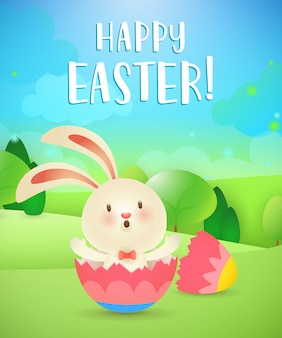 Happy easter lettering, rabbit hatching from egg and landscape