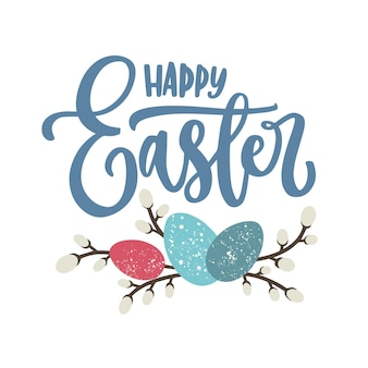 Happy easter lettering or seasonal holiday inscription written with calligraphic cursive font