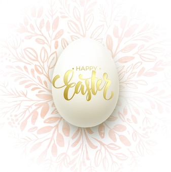 Happy easter lettering on the watercolor wreath with eggs
