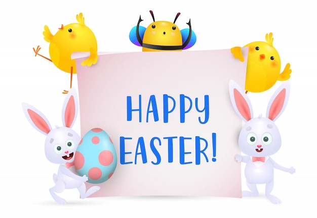 Happy easter lettering with bee, chicks and bunnies characters