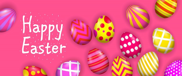 Happy easter lettering with bright decorated eggs