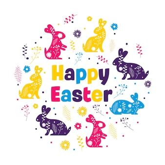 Happy easter lettering with bunnies and flowers Premium Vector