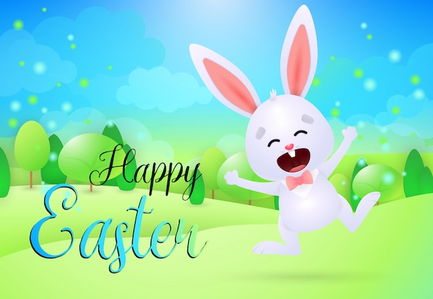 Happy easter lettering with cute cheerful bunny
