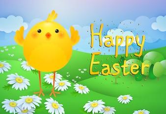 Счастливой Пасхи надпись с милой курицей на лужайке