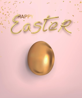 Happy easter lettering with decorative realistic golden egg.