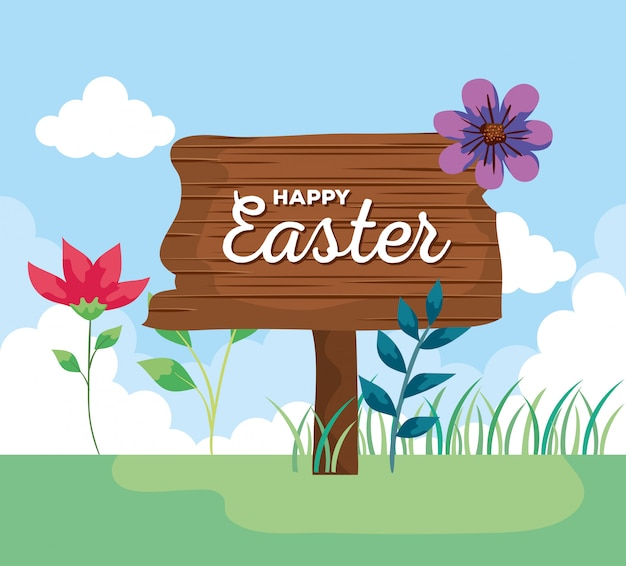 Happy easter lettering in wooden label