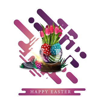 Happy easter, modern white template greeting postcard