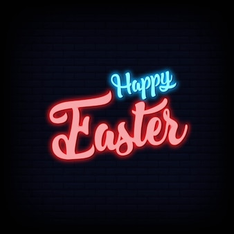 Happy easter neon text sign. light banner  poster.