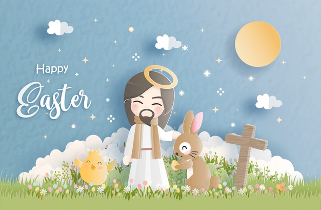 Happy easter in paper cut style vector illustration.